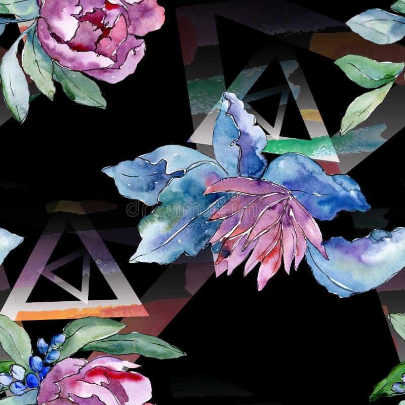 Flor botánica floral del ramo púrpura Sistema del ejemplo del fondo de la acuarela Modelo inconsútil del fondo imagenes de archivo