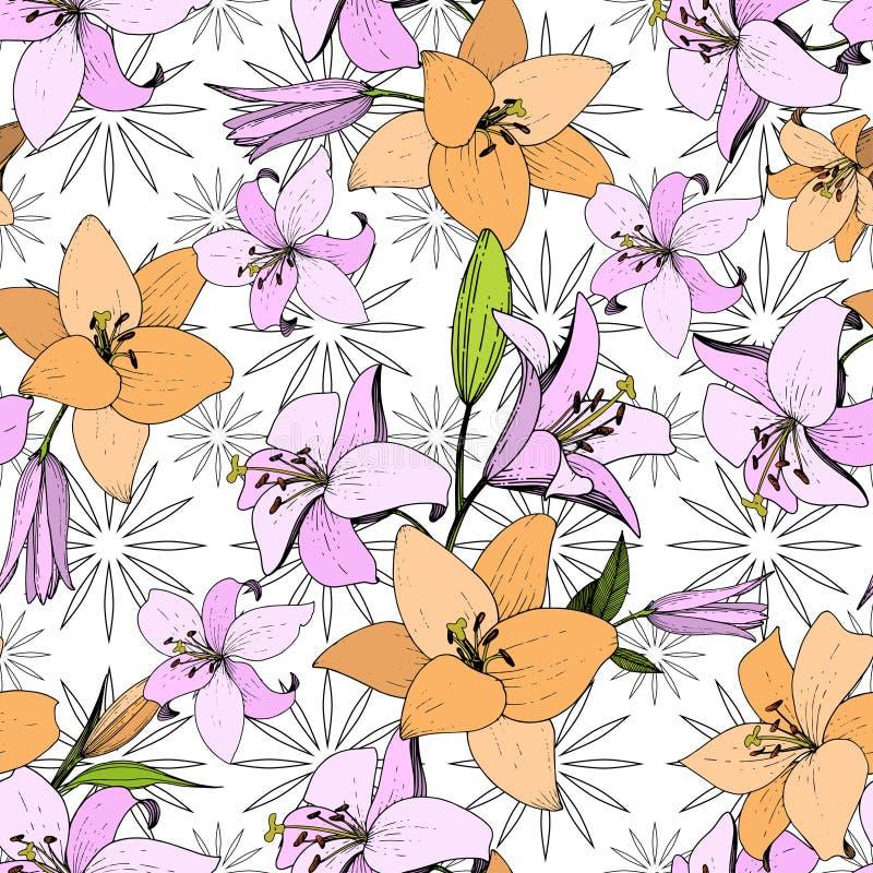Flor botânica floral do lírio do vetor Arte gravada da tinta Teste padrão sem emenda do fundo Textura da cópia do papel de parede ilustração do vetor