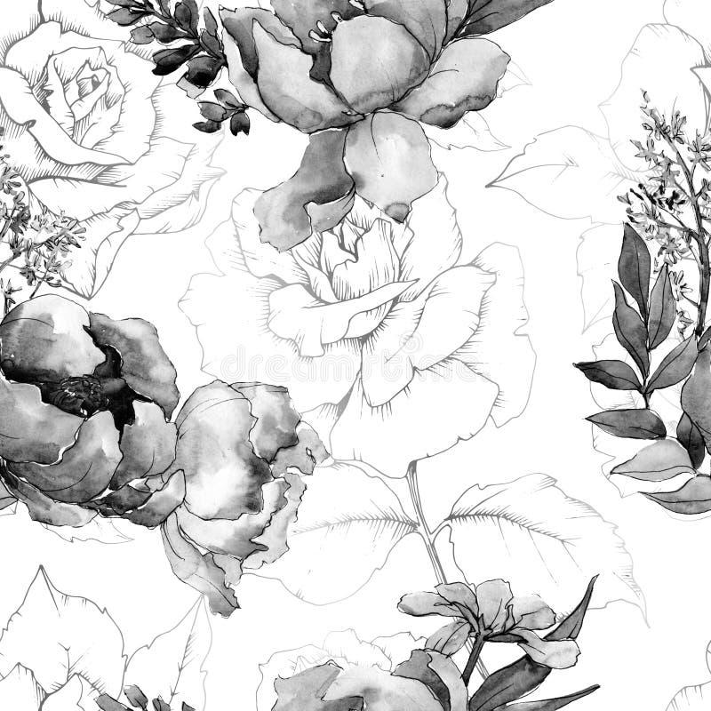 Flor botânica floral dos ramalhetes da peônia Grupo da ilustração do fundo da aquarela Teste padrão sem emenda do fundo ilustração do vetor