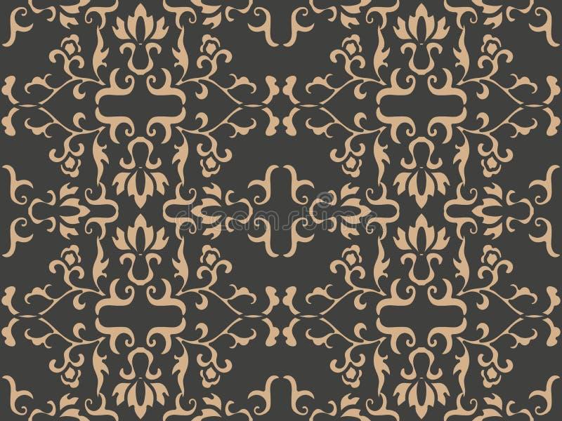 Flor botnaic de la vid de la hoja del marco de jardín del modelo del damasco del vector del fondo de la cruz espiral retra incons stock de ilustración