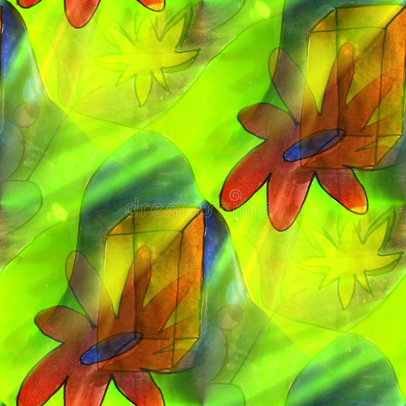 Flor clara da arte, quadrado, marrom, fundo verde ilustração royalty free