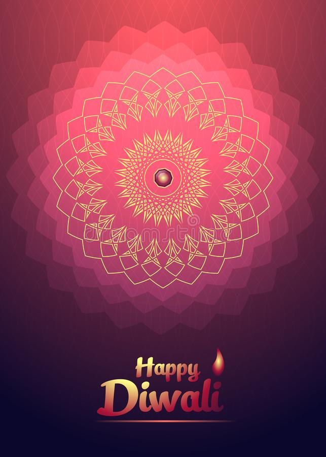 Flor clara vermelha do fundo feliz do festival de Diwali ilustração do vetor