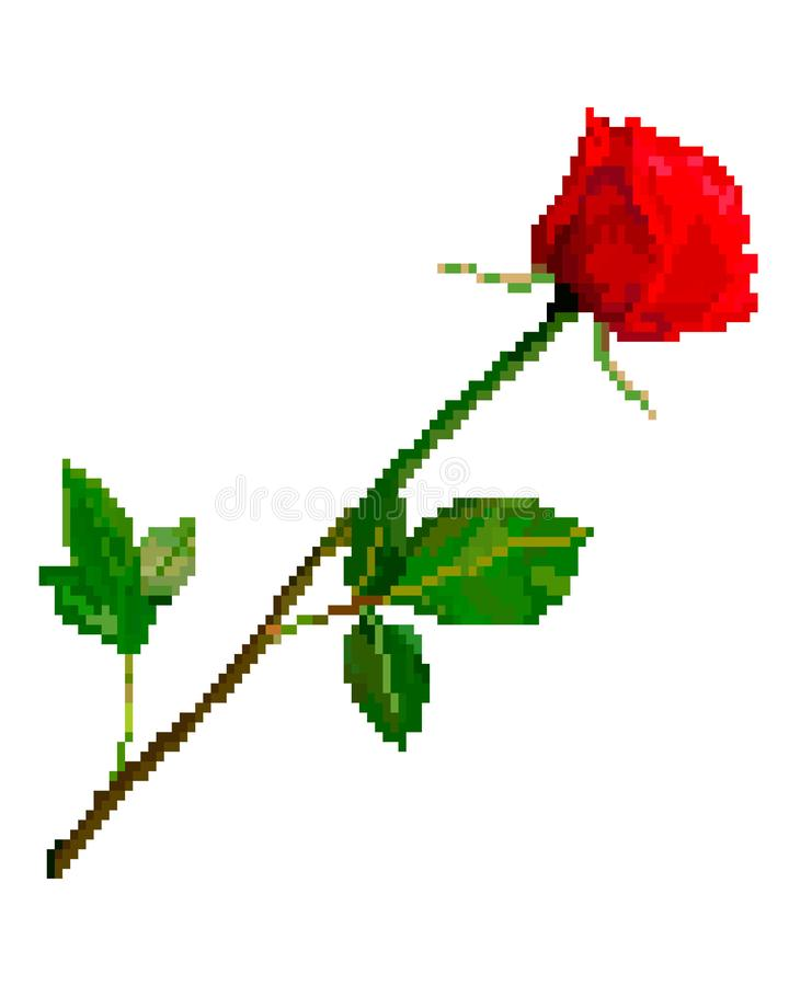 Flor color de rosa roja del arte del pixel stock de ilustración