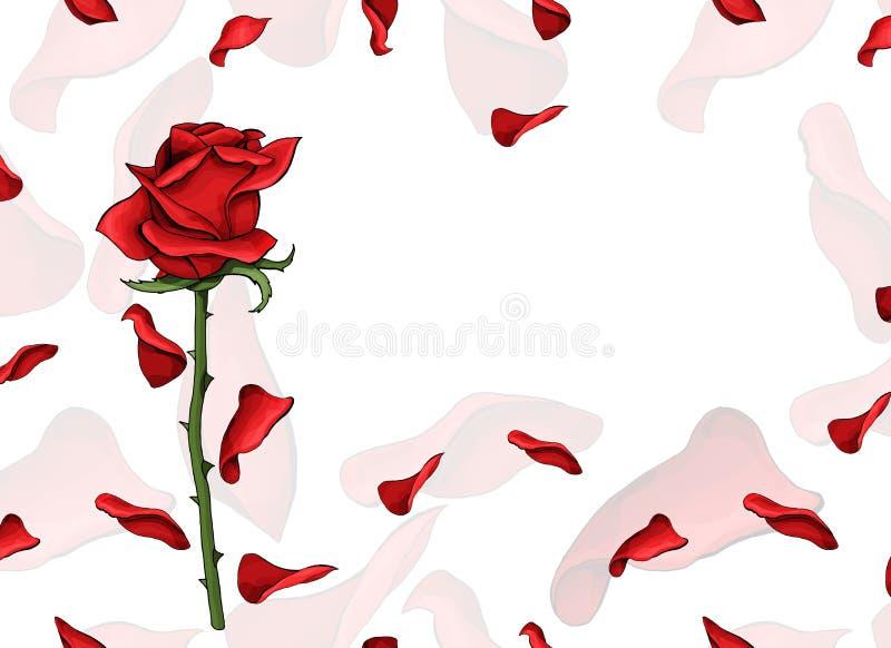 Flor color de rosa roja de la postal del amor del día de San Valentín sola y plantilla suave de los pétalos libre illustration