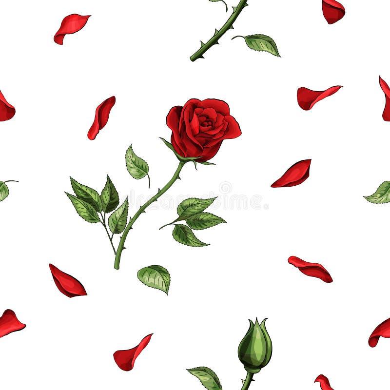 Flor color de rosa roja y modelo inconsútil de los elementos suaves de los pétalos stock de ilustración