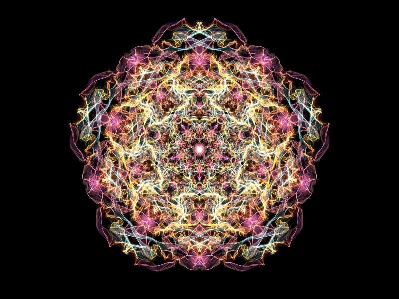 Flor coloreada multi de la mandala de la llama del extracto brillante, modelo pentagonal ornamental en fondo negro ilustración del vector