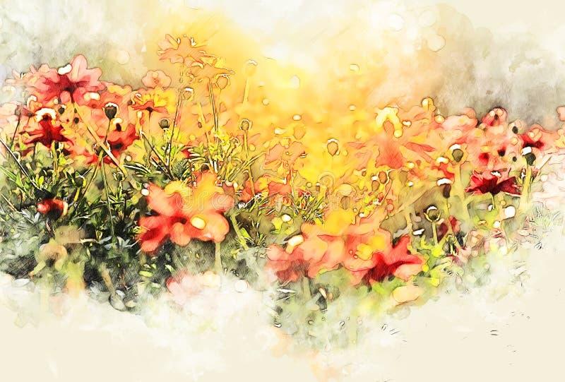 Flor colorida abstrata que floresce no parque na pintura da ilustração da aquarela ilustração royalty free