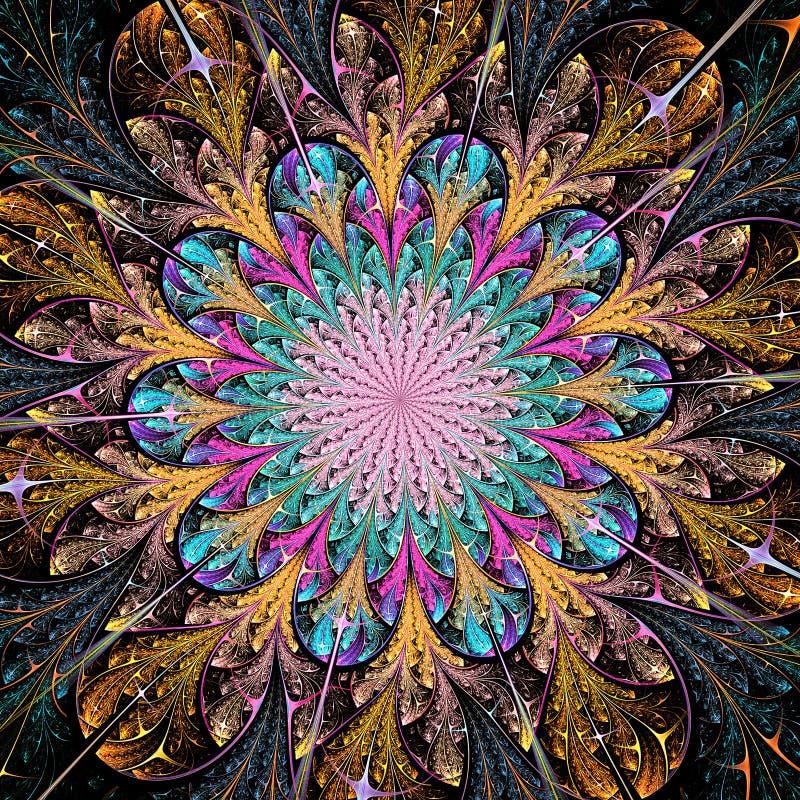Flor colorida brillante del fractal ilustración del vector