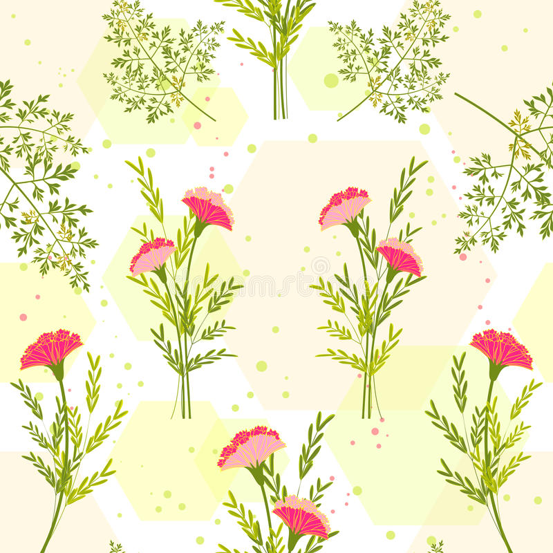Flor colorida da primavera com Herb Background ilustração royalty free