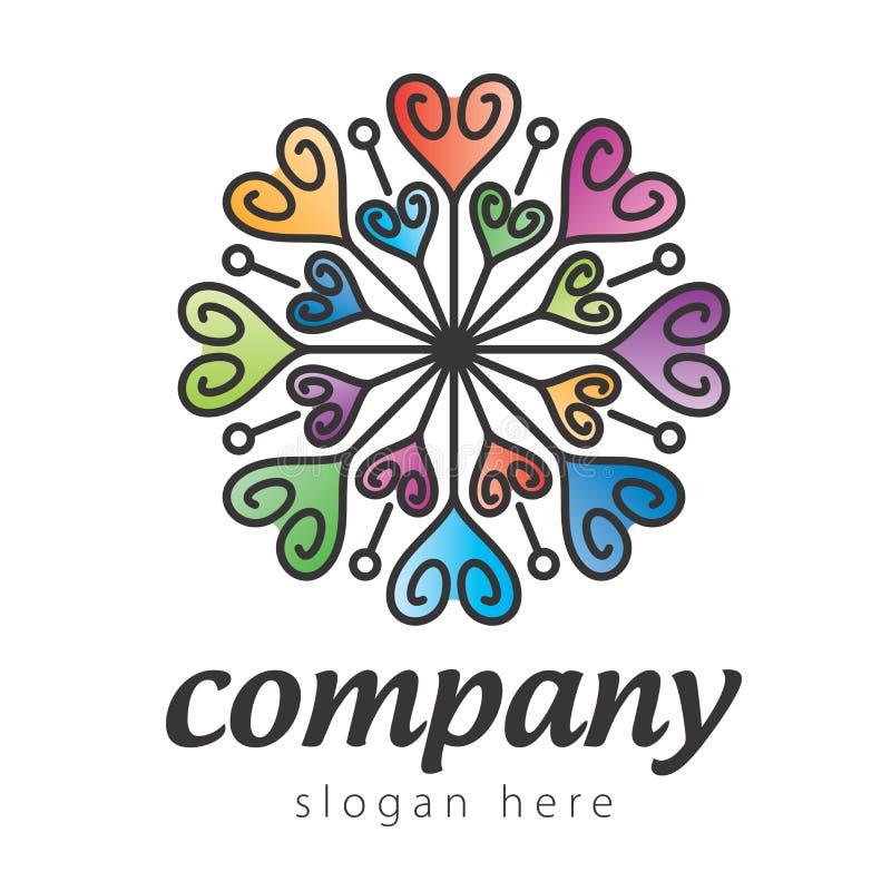 Logotipo colorido do coração ilustração stock