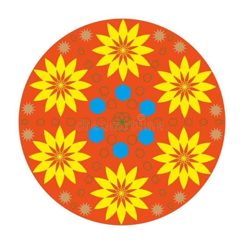 Flor colorida mandala ilustração royalty free