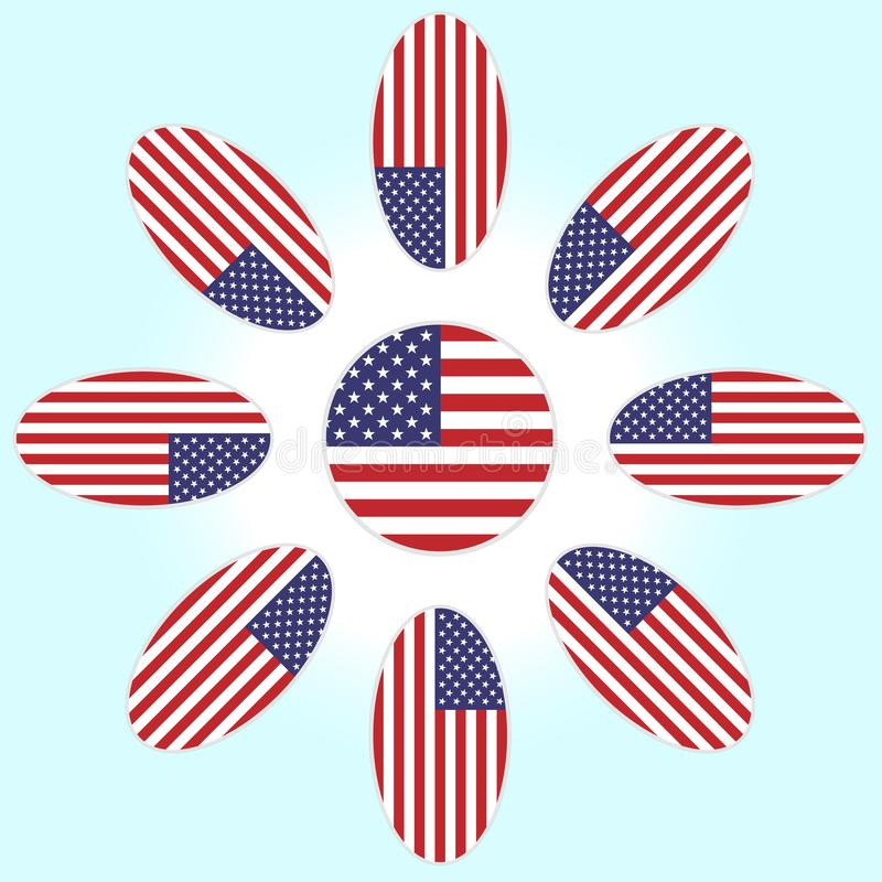 Flor com as pétalas da bandeira americana ilustração do vetor