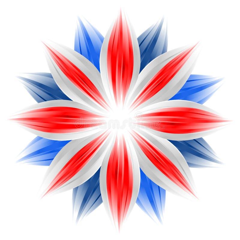 Flor com cores britânicas da bandeira ilustração do vetor