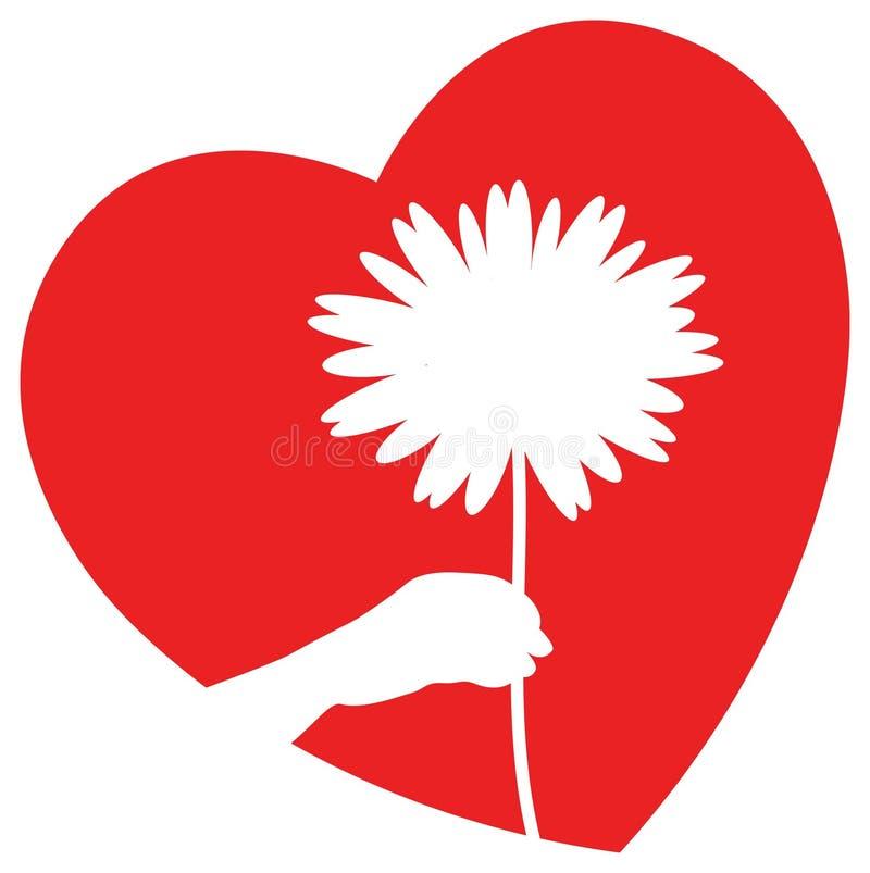 Flor con el corazón stock de ilustración