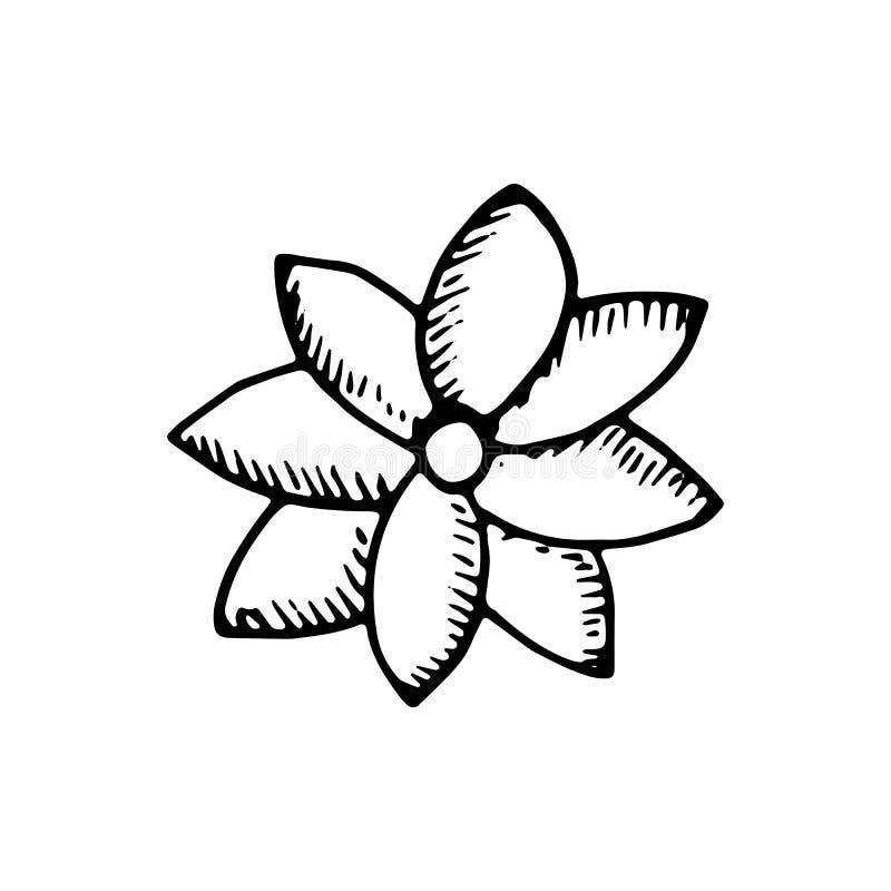 Flor con el icono de los pétalos Objeto aislado stock de ilustración