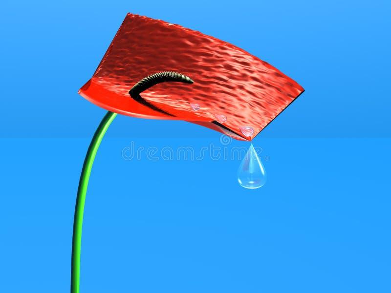 Flor con gotas del agua stock de ilustración