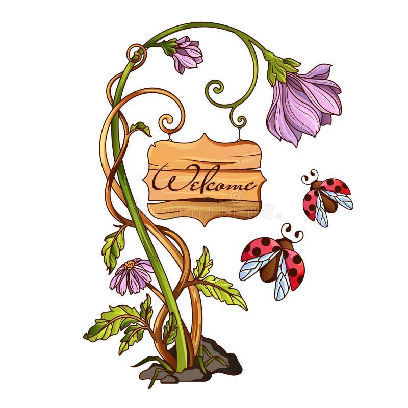 Flor con la placa de madera con las letras ilustración del vector