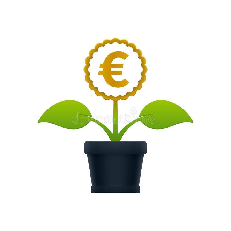 Flor con símbolo euro en maceta ilustración del vector