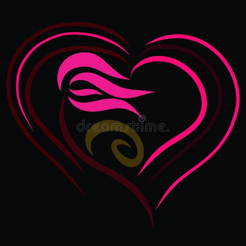 Flor cor-de-rosa com corações em um fundo, em um teste padrão e em um feeli pretos ilustração stock