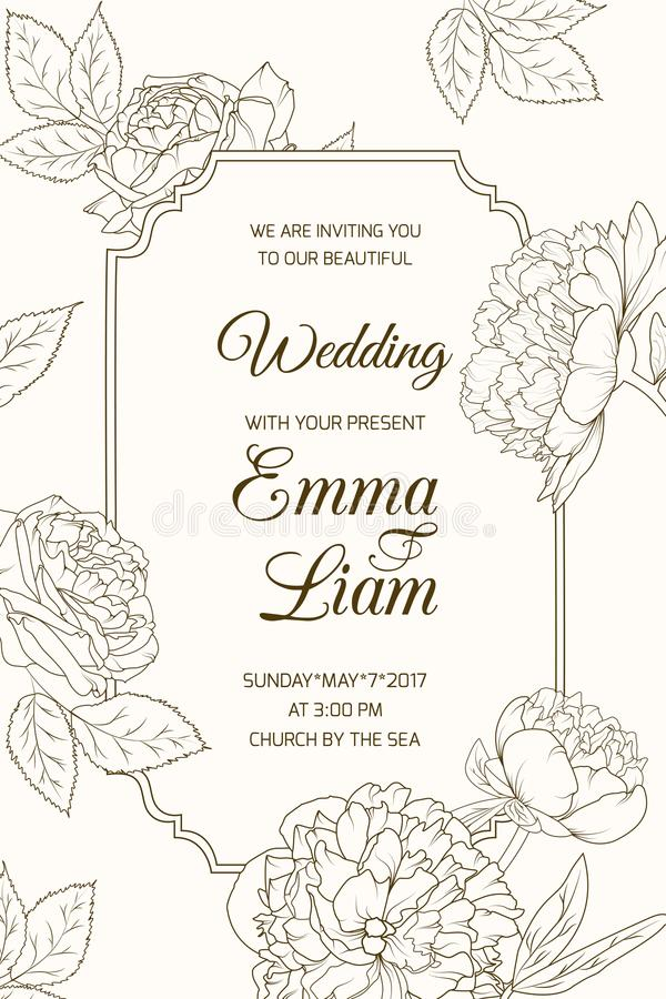Flor cor-de-rosa da peônia do molde do cartão do convite do casamento ilustração stock