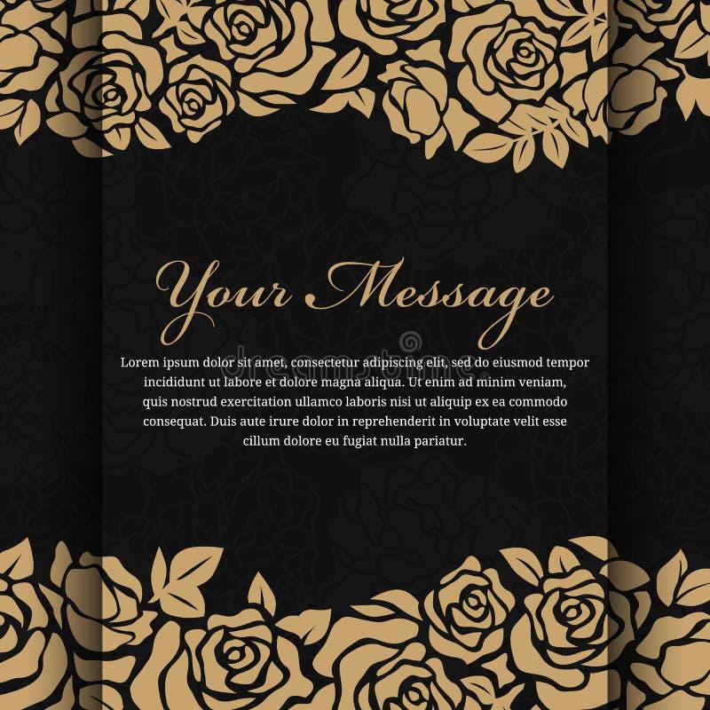 Flor cor-de-rosa do ouro no projeto preto abstrato do vetor do fundo ilustração do vetor