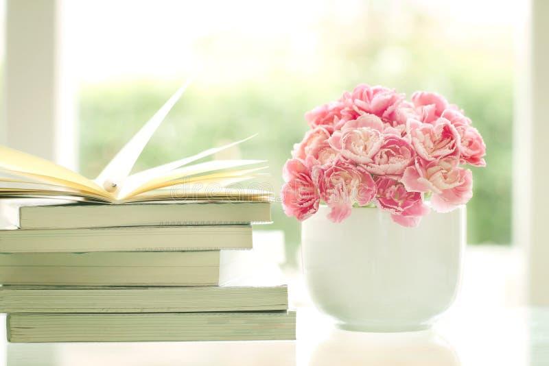 Flor cor-de-rosa doce e romântica fresca do cravo com backg dos livros imagem de stock