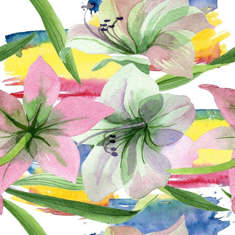 Flor cor-de-rosa dos amarylis da aquarela Flor botânica floral Teste padrão sem emenda do fundo ilustração royalty free