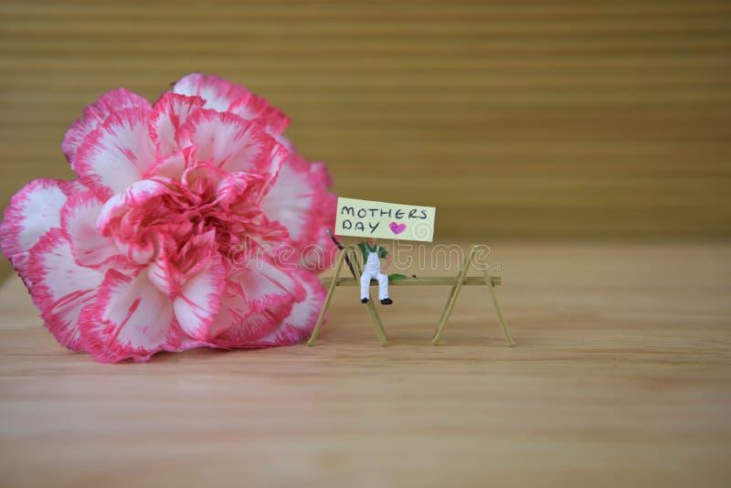 A flor cor-de-rosa fresca de um cravo com palavras do dia de mães e um coração do amor dão forma fotografia de stock