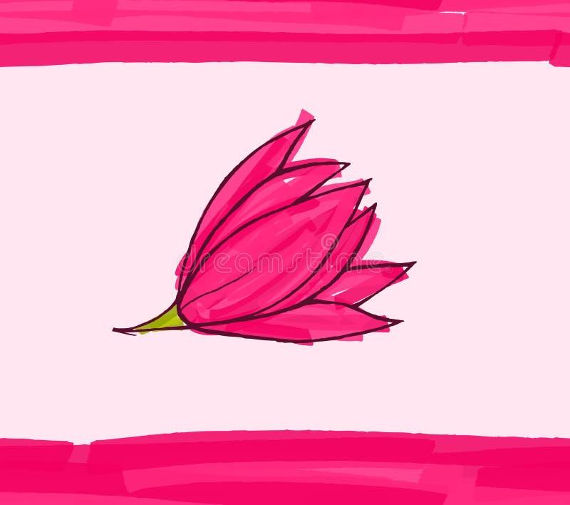 Flor cor-de-rosa grande no rosa com listras ilustração do vetor