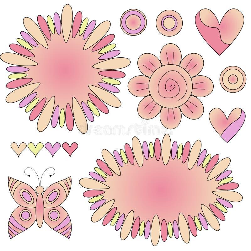 flor, corazón, etiquetas y mariposa stock de ilustración