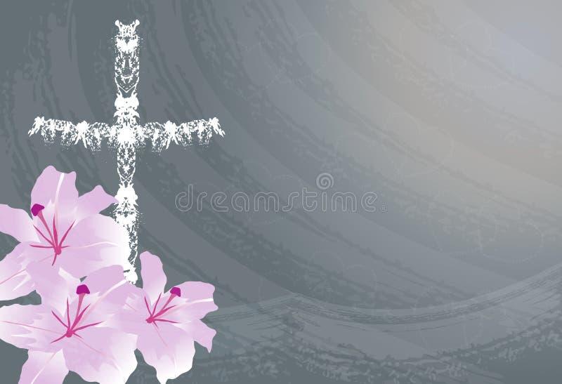 Flor cristiana de la cruz y del lirio libre illustration