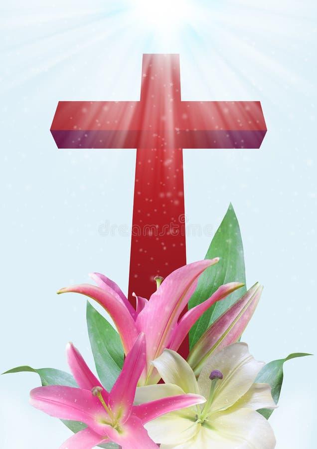 Flor cristiana de la cruz y del lirio ilustración del vector