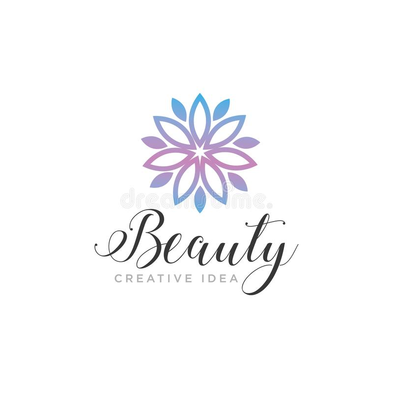 Flor da beleza com molde do logotipo da natureza da folha imagem de stock royalty free
