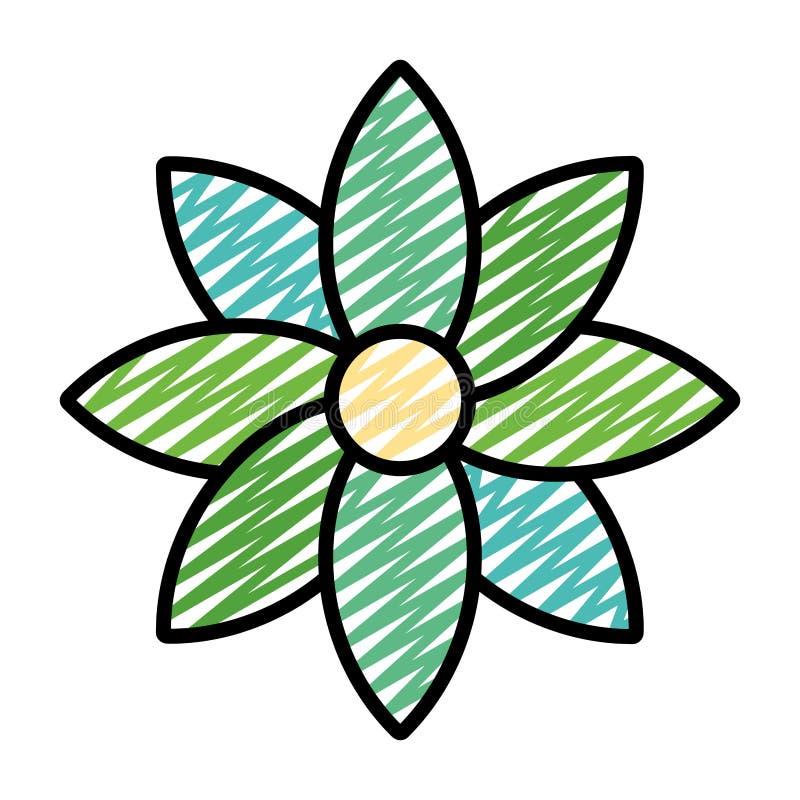 Flor da beleza da garatuja com estilo natural das pétalas ilustração royalty free
