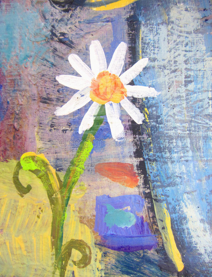 Flor da camomila do grunge dos desenhos animados Cartão de verão tirado mão ilustração stock