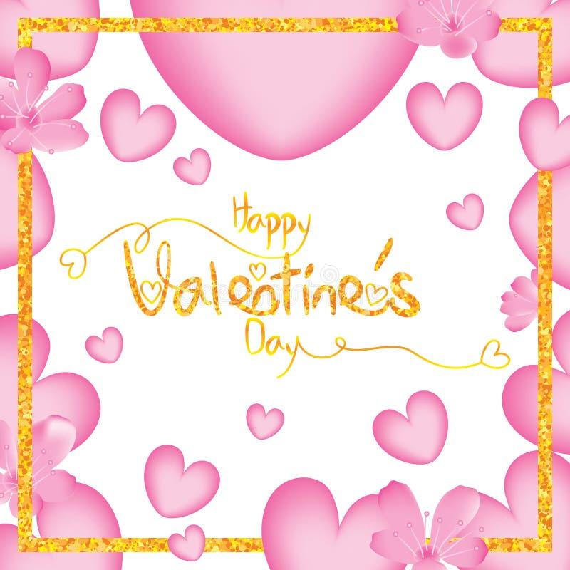 Flor da cereja do amor do dia de Valentim em torno do quadro ilustração do vetor