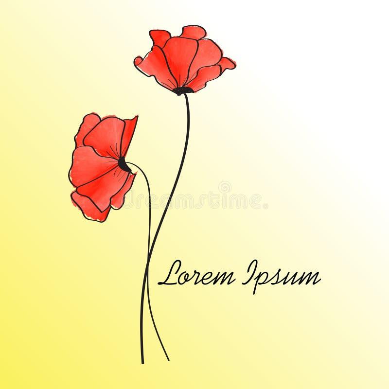 Flor da cor de água vermelha com fundo do inclinação ilustração royalty free
