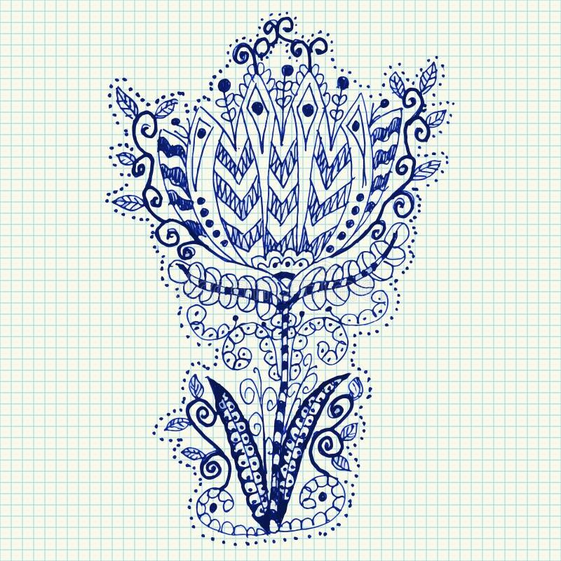 Flor da garatuja desenhado à mão no caderno ilustração stock