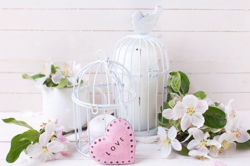 Flor da maçã da mola, velas em gaiolas de pássaro decorativas e littl imagem de stock royalty free