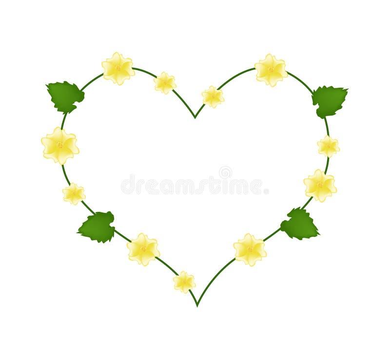 Flor da malva indiana em uma forma do coração ilustração stock