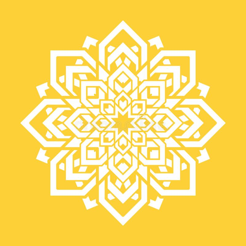 Flor da mandala Elemento do projeto da ioga do vetor Símbolo floral redondo Branco e amarelo Ideia fresca para professores da iog ilustração royalty free