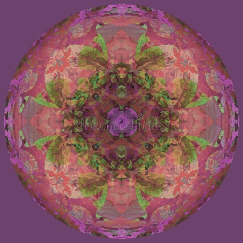 Flor da mandala da lua, fundo violeta liso, imagem central em bege, verde, roxo, coral ilustração stock