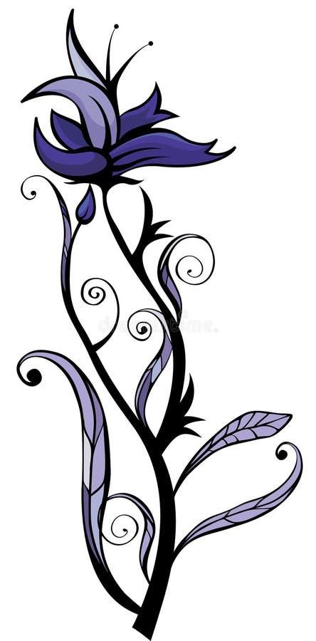 Flor da orquídea azul ilustração stock