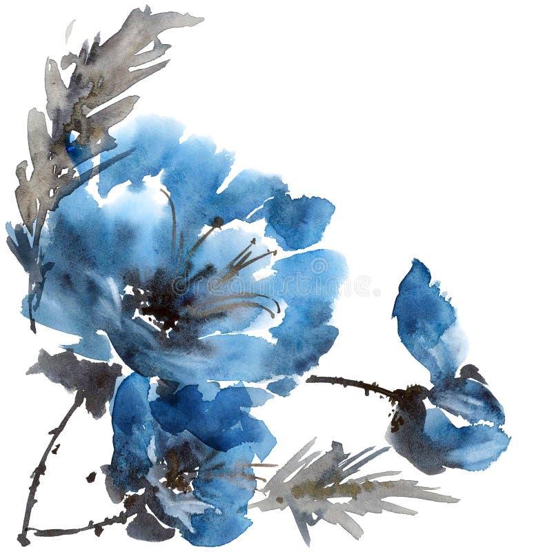 Flor da peônia da aquarela ilustração stock