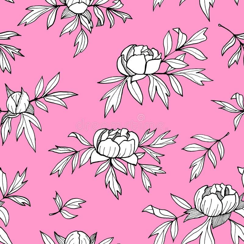 Flor da peônia, botões, teste padrão sem emenda monocromático das folhas Ilustração floral tirada mão do esboço Esboço botânico b ilustração do vetor