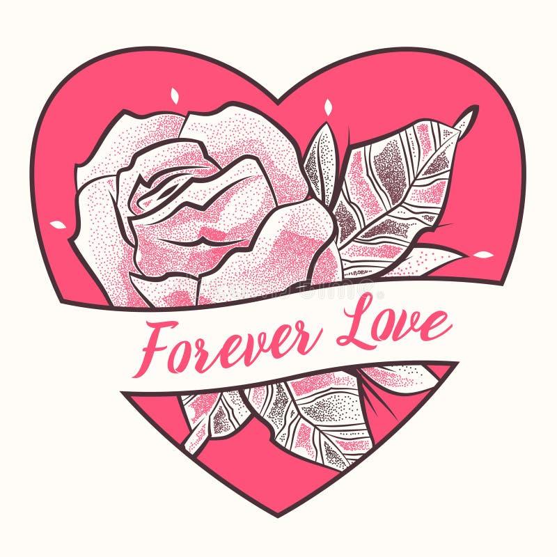 Flor da tatuagem com elementos florais e coração no estilo do dotwork ilustração royalty free