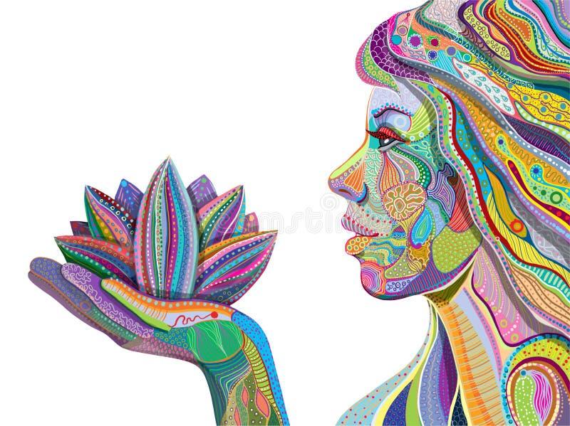 Flor da terra arrendada da mulher, teste padrão brilhante ilustração stock