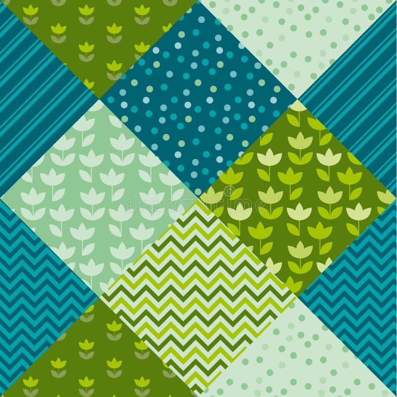 Flor da tulipa da cor azul e verde e retalhos do motivo da geometria ilustração stock