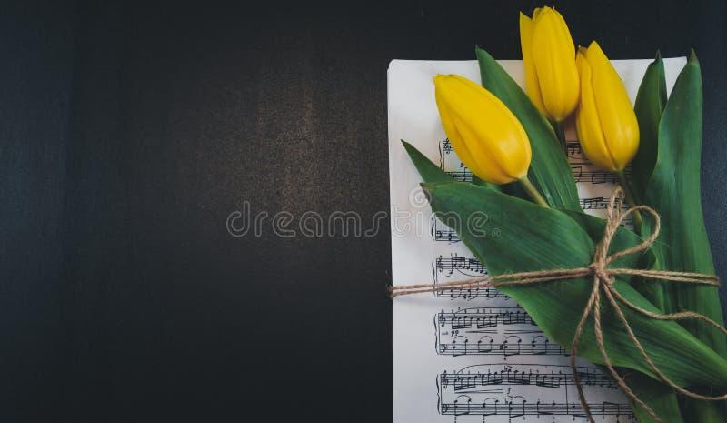 Flor da tulipa em uma folha de notas musicais velhas no fundo do dlack fotografia de stock royalty free