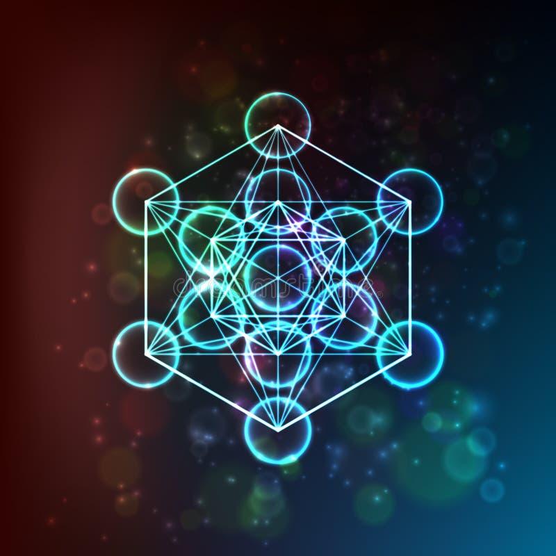Flor da vida Geometria sagrado Símbolo da harmonia e do equilíbrio Vetor ilustração stock